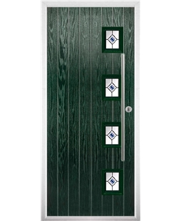 The Norwich Composite Door in Green with Blue Fusion Ellipse