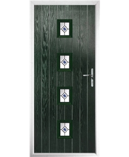 The Uttoxeter Composite Door in Green with Blue Fusion Ellipse