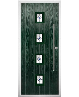 The Leicester Composite Door in Green with Blue Fusion Ellipse