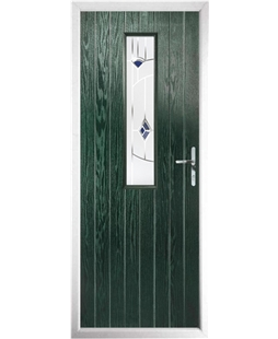 The Sheffield Composite Door in Green with Blue Murano