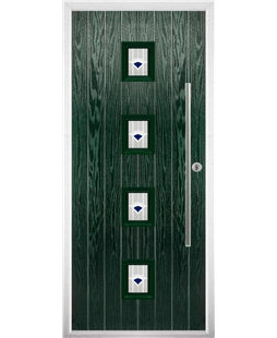 The Leicester Composite Door in Green with Blue Murano