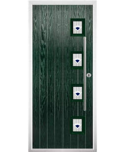 The Norwich Composite Door in Green with Blue Murano