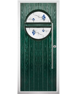 The Xenia Composite Door in Green with Blue Murano