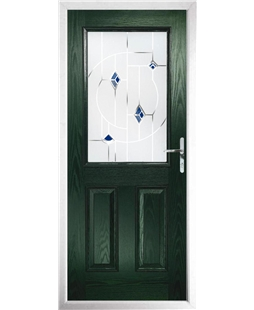 The Farnborough Composite Door in Green with Blue Murano