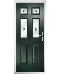 The Oxford Composite Door in Green with Blue Murano