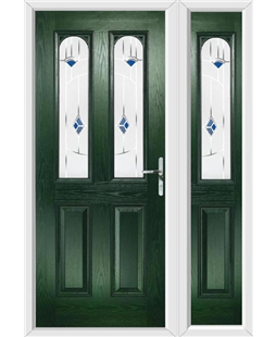 The Aberdeen Composite Door in Green with Blue Murano and matching Side Panel