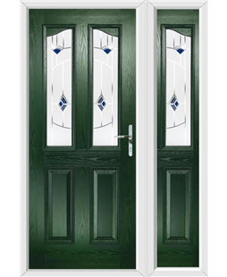 The Birmingham Composite Door in Green with Blue Murano and matching Side Panel