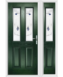 The Cardiff Composite Door in Green with Blue Murano and matching Side Panel
