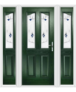 The Birmingham Composite Door in Green with Blue Murano and matching Side Panels