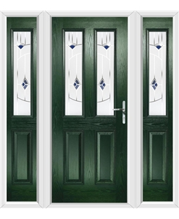 The Cardiff Composite Door in Green with Blue Murano and matching Side Panels