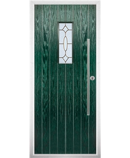 The Zetland Composite Door in Green with Brass Art Clarity