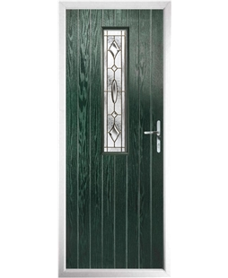 The Sheffield Composite Door in Green with Brass Art Clarity