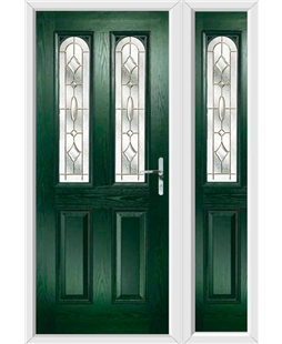 The Aberdeen Composite Door in Green with Brass Art Clarity and matching Side Panel