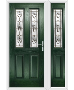 The Cardiff Composite Door in Green with Brass Art Clarity and matching Side Panel