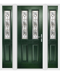 The Cardiff Composite Door in Green with Brass Art Clarity and matching Side Panels