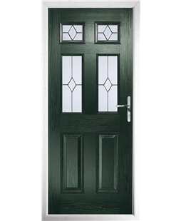 The Oxford Composite Door in Green with Classic Glazing