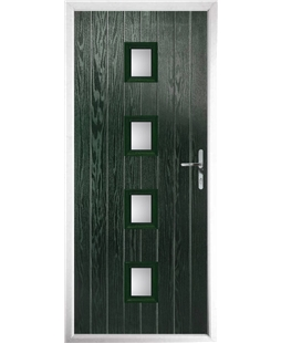 The Uttoxeter Composite Door in Green with Clear Glazing