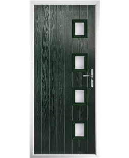 The Preston Composite Door in Green with Clear Glazing