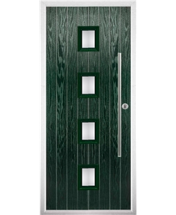 The Leicester Composite Door in Green with Glazing