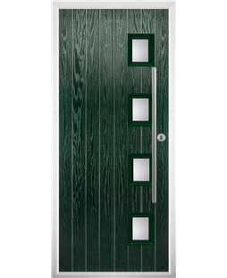 The Norwich Composite Door in Green with Glazing