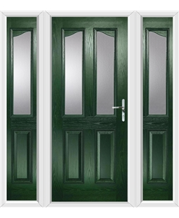The Birmingham Composite Door in Green with Glazing and matching Side Panels