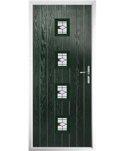 The Uttoxeter Composite Door in Green with Barcelona Red