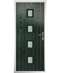 The Uttoxeter Composite Door in Green with Luxury Crystal
