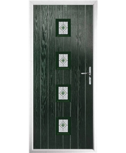 The Uttoxeter Composite Door in Green with Daventry Red