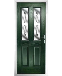 The Cardiff Composite Door in Green with Crystal Bohemia