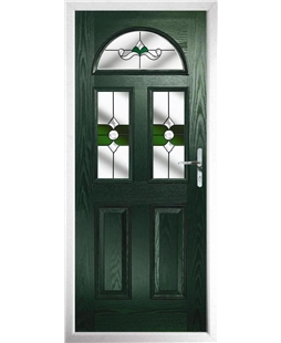 The Glasgow Composite Door in Green with Green Crystal Bohemia