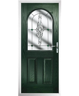 The Edinburgh Composite Door in Green with Green Crystal Bohemia
