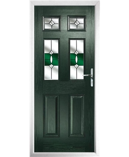 The Oxford Composite Door in Green with Crystal Bohemia