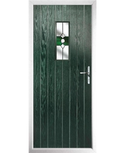 The Taunton Composite Door in Green with Green Crystal Bohemia