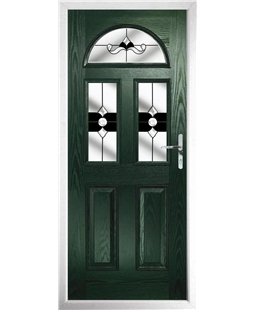 The Glasgow Composite Door in Green with Black Crystal Bohemia