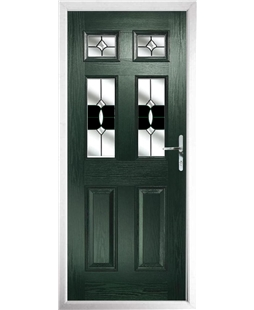 The Oxford Composite Door in Green with Black Crystal Bohemia