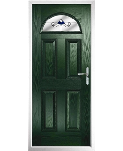 The Derby Composite Door in Green with Blue Crystal Bohemia