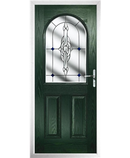The Edinburgh Composite Door in Green with Blue Crystal Bohemia