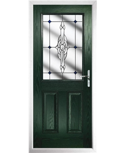 The Farnborough Composite Door in Green with Blue Crystal Bohemia