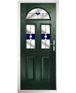 The Glasgow Composite Door in Green with Blue Crystal Bohemia