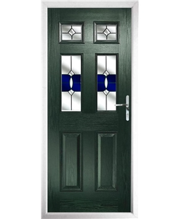 The Oxford Composite Door in Green with Blue Crystal Bohemia