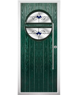 The Xenia Composite Door in Green with Blue Crystal Bohemia