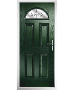 The Derby Composite Door in Green with Clear Crystal Bohemia