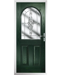 The Edinburgh Composite Door in Green with Clear Crystal Bohemia