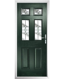 The Oxford Composite Door in Green with Clear Crystal Bohemia