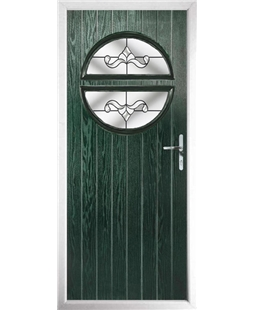 The Queensbury Composite Door in Green with Clear Crystal Bohemia