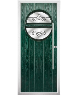 The Xenia Composite Door in Green with Clear Crystal Bohemia