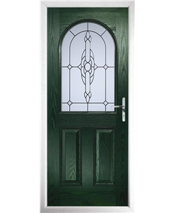 The Edinburgh Composite Door in Green with Crystal Bohemia Frost