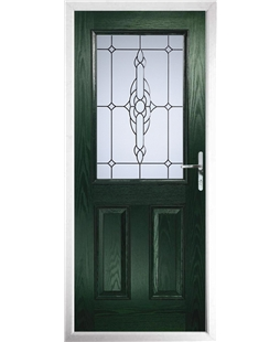 The Farnborough Composite Door in Green with Crystal Bohemia Frost