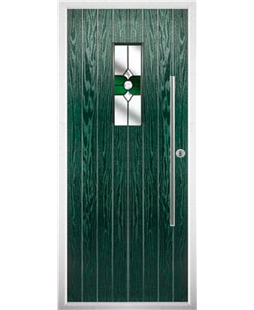 The Zetland Composite Door in Green with Green Crystal Bohemia