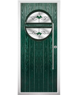 The Xenia Composite Door in Green with Green Crystal Bohemia